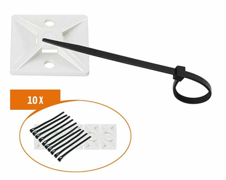 UV-bestendige plakzadels & tiewraps PZTW10