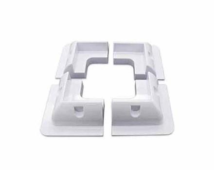 Kunststof witte hoeksteunen (4 stuks)